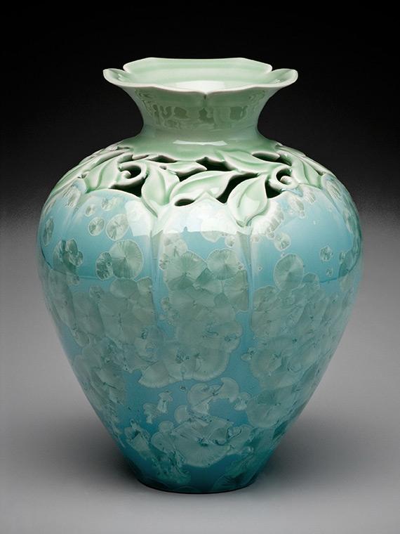 light green carved crystalline glazed vase