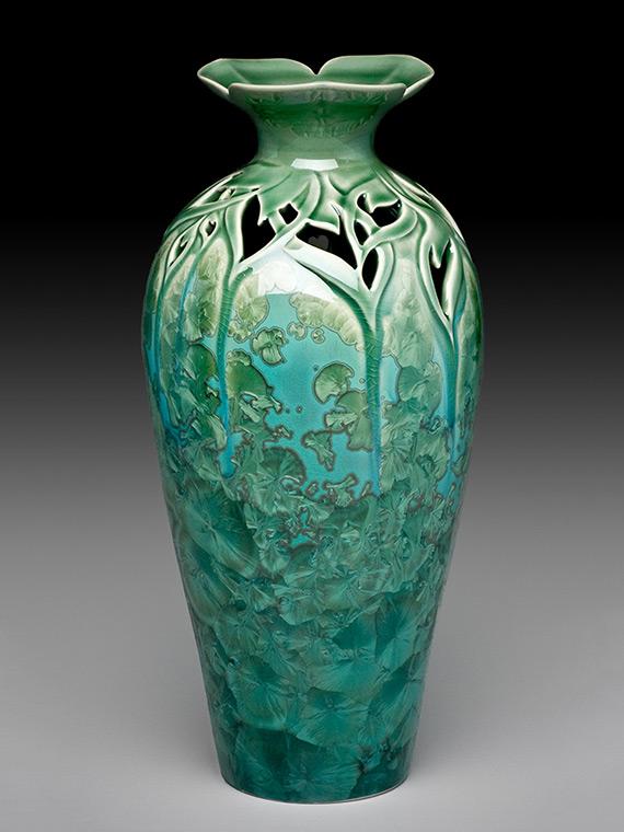 tall green carved crystalline glazed vase