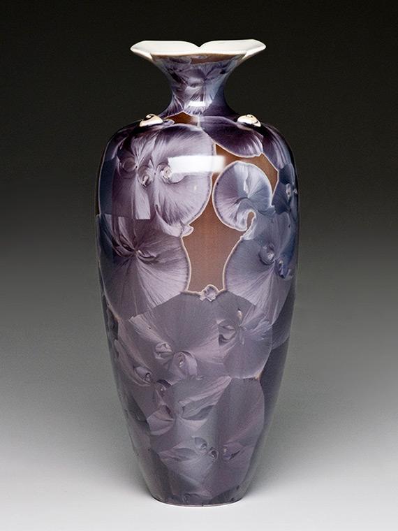 small purple crystalline glazed vase