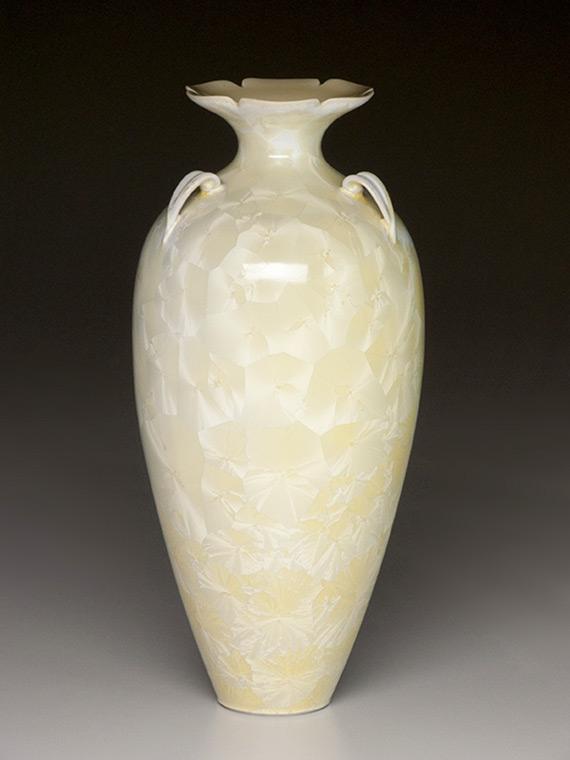 cream colored crystalline glazed tall vase