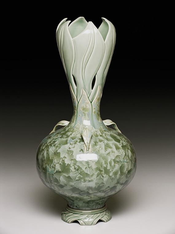large sage green carved crystalline glazed bulb-shaped vase
